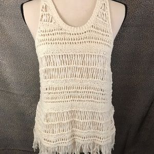 American Eagle Outfitters Crocheted Vest w/Fringe